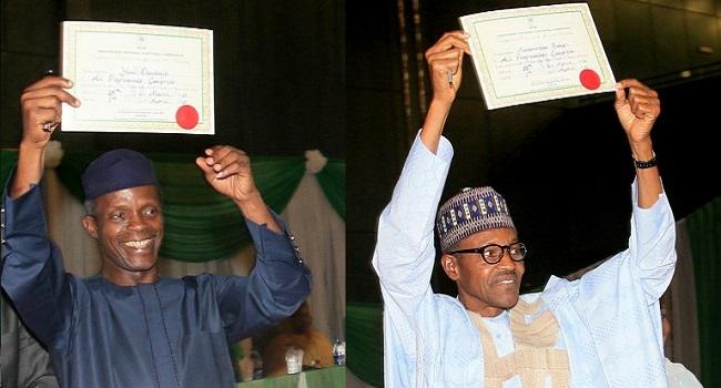 Finally, INEC gives Buhari, Osinbajo certificates of return