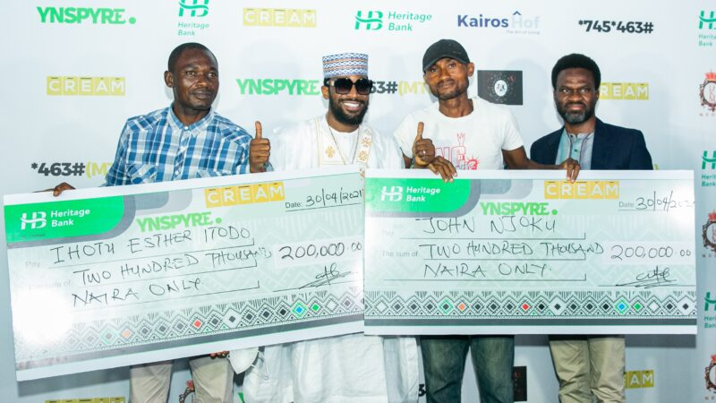 Heritage bank gifts winners of YNSPYRE, CREAM Platform over N12m in April draw